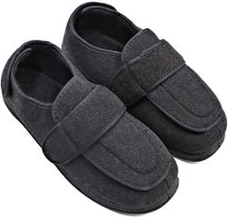Mens Diabetic Slippers Edema Shoes with Adjustable Closures