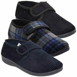 New Mens Outdoor Corduroy Style Slippers Padded Diabetic Fri