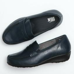 Drew Shoes Berlin Navy Blue Leather Diabetic Confort Loafers